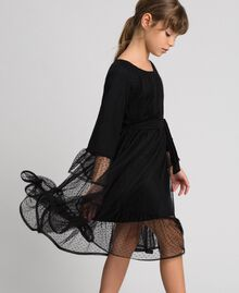 Tulle dress with flounce Black Child 192GJ2460-01