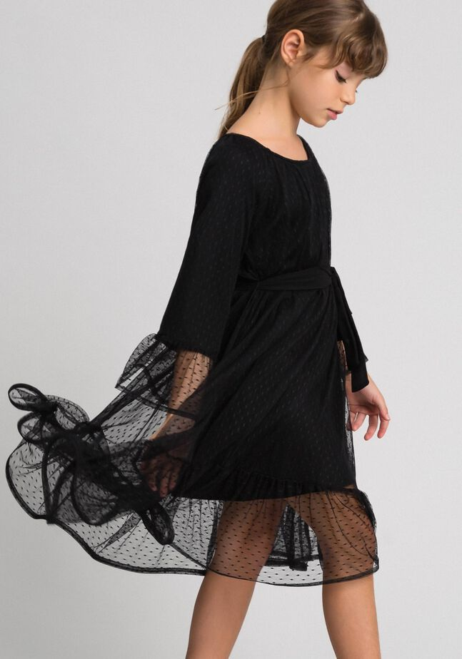 Tulle dress with flounce