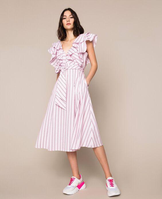 Striped poplin midi dress