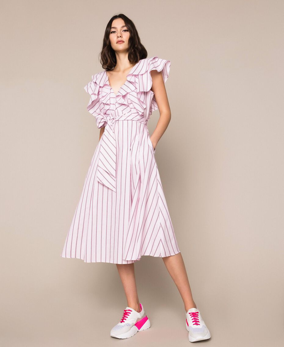 "Striped poplin midi dress ""Candy"" Pink Baton Stripe Jacquard Woman 201ST202J-01"