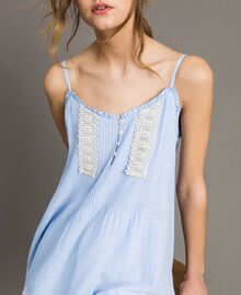 "Voile top with broderie anglaise embroidery Two-tone ""Atmosphere"" Light Blue / Ecru Woman 191ST2110-01"