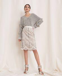 Пуловер из фасонной крученой пряжи с люрексом Разноцветный Слоновая кость / Черный женщина 201TP3162-0T
