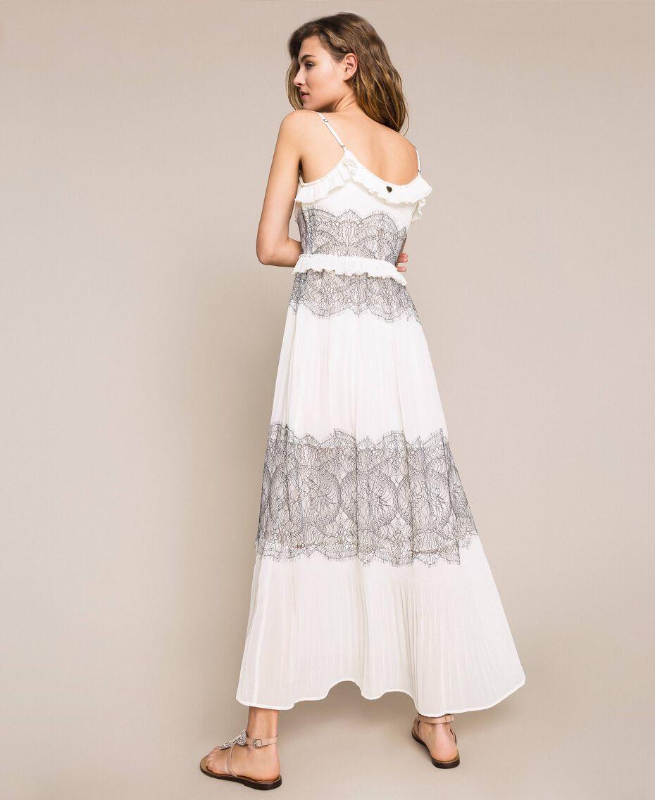 Длинное плиссированное платье с двухцветным кружевом Белый Снег женщина 201TT2143-01