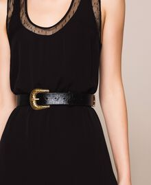 Leather belt with Texas buckle Ivory Woman 201TA4344-0T