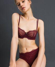 Soutien-gorge à balconnet en dentelle bicolore Rouge Violet / Gris Plomb Femme 192LI6433-02