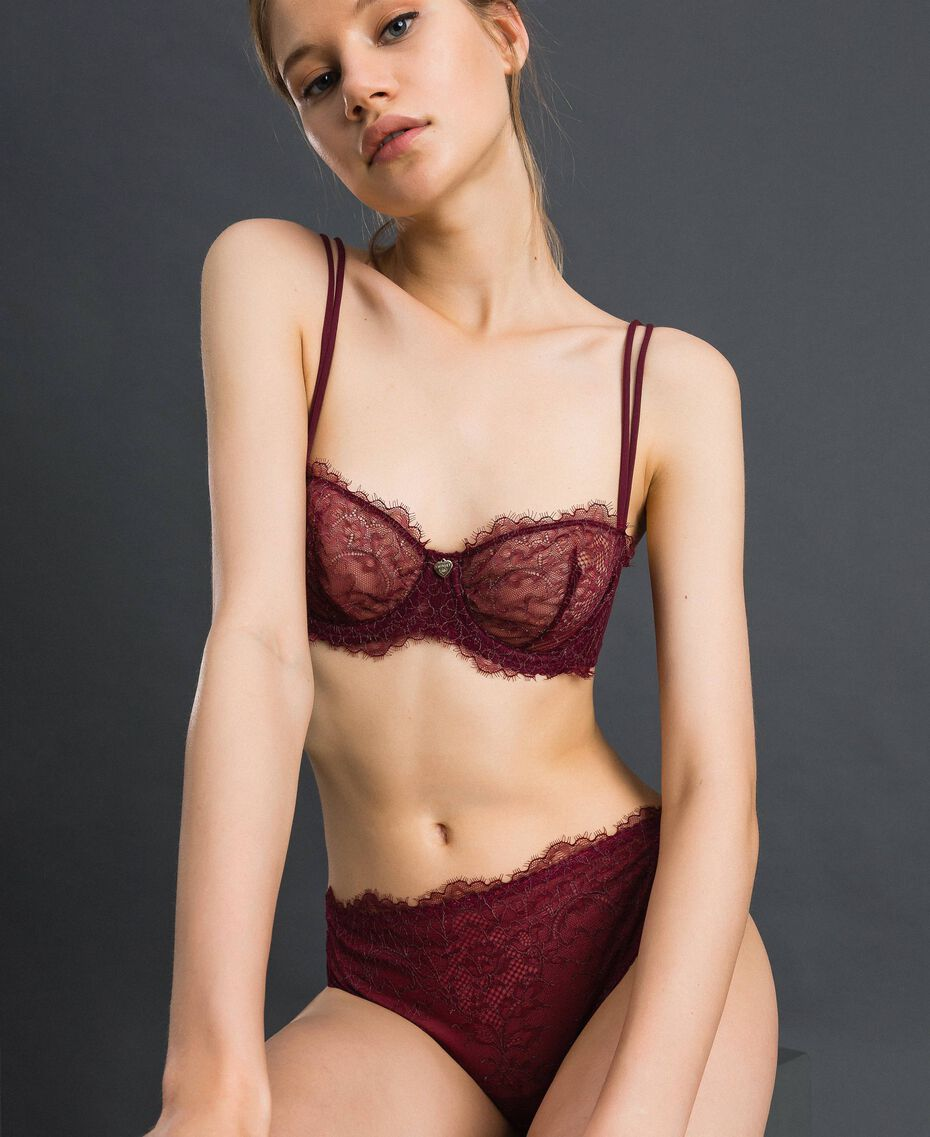 Two-tone lace balconette bra Purple Red / Lead Grey Woman 192LI6433-02