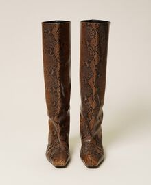 Leather high boots with animal print Leather Whips Print Woman 212TCP180-06