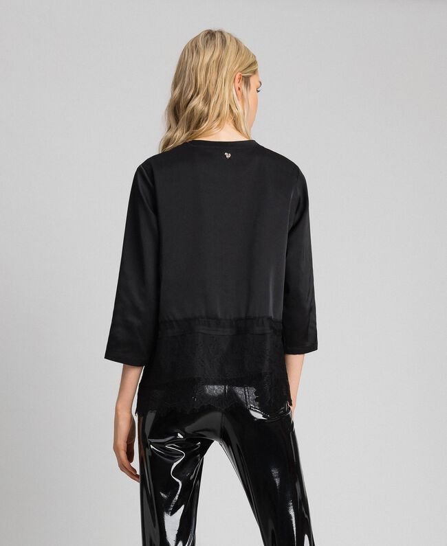 Soft satin blouse with lace flounce Black Woman 192MP2133-03