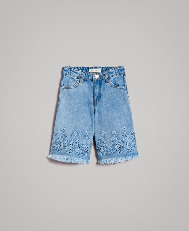 Breitbeinige Jeans mit Lochstickerei-Verzierung Helles Denim Kind 191GB2250-01
