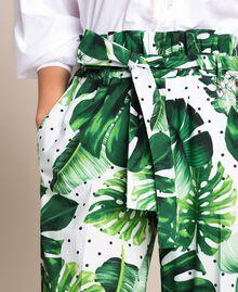 Брюки с высокой талией из набивного поплина Принт Тропический Горошек Зеленый женщина 201TP2553-04