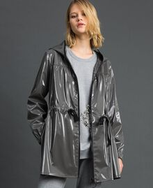 Vinyl effect parka coat with drawstring Lead Grey Woman 192LI2JCC-05