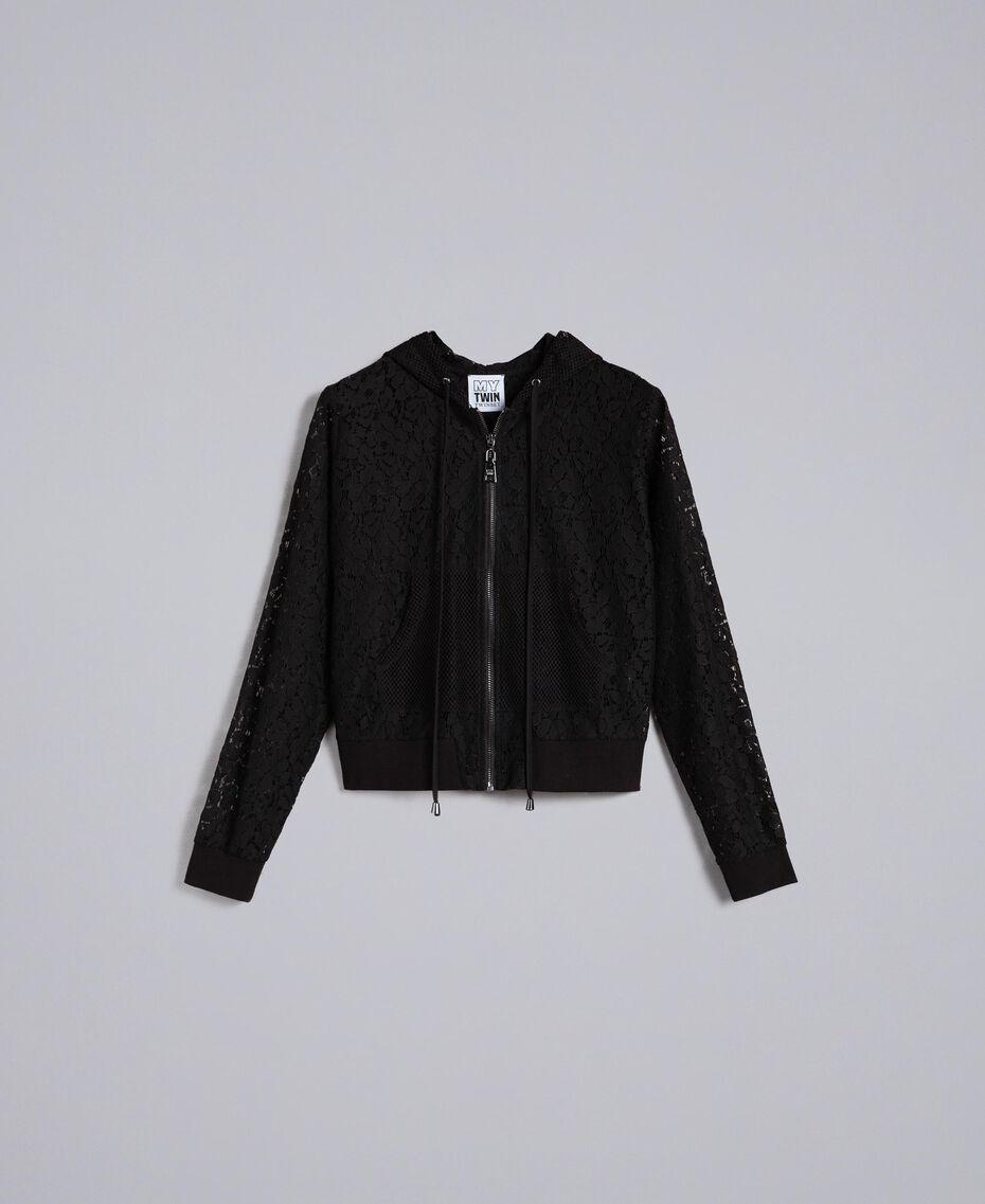 Lace sweatshirt with hood Black Woman JA82GA-0S