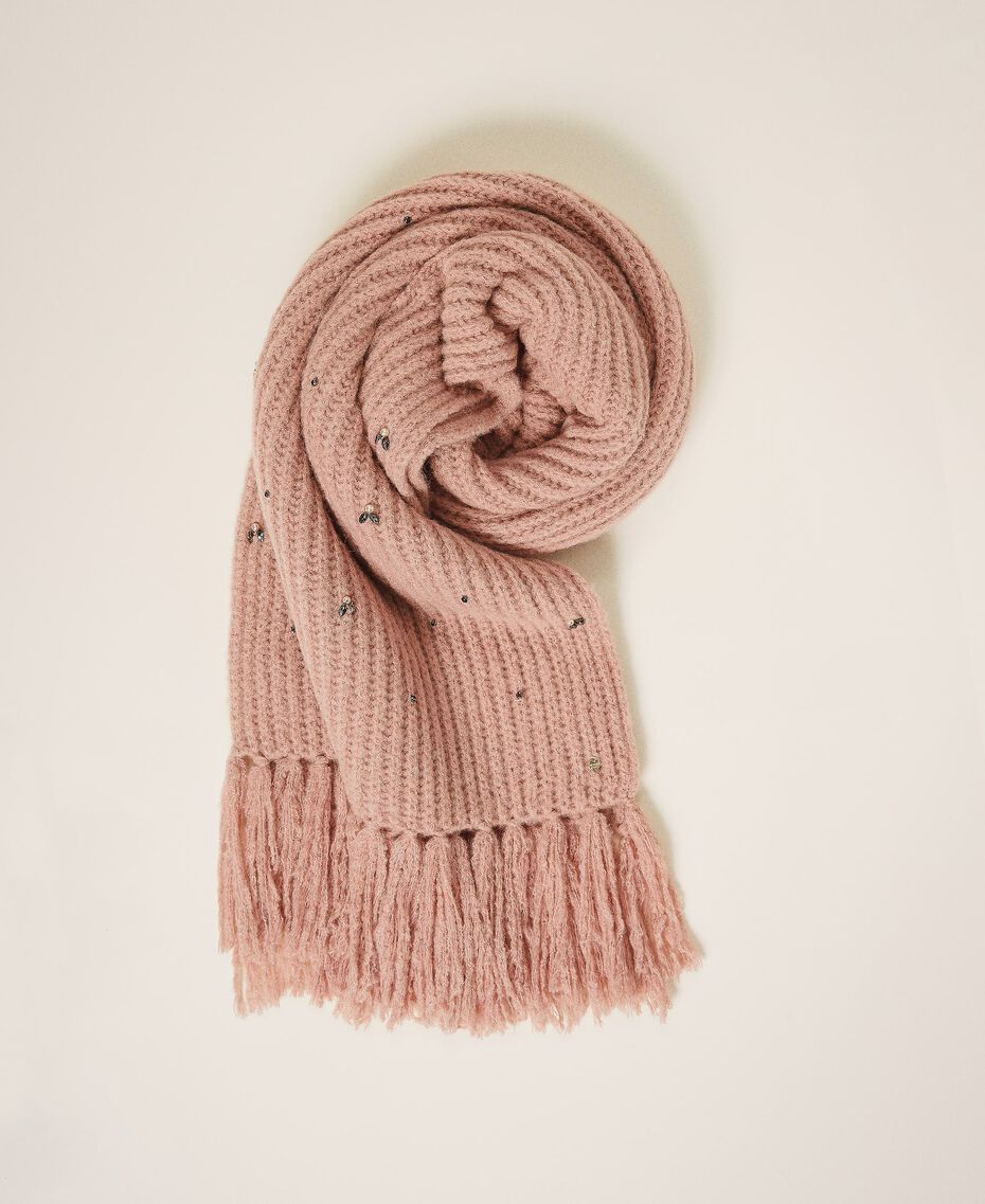 "Knit scarf with pearls and bezels ""Intense Nude"" Pink Woman 202TO5111-02"