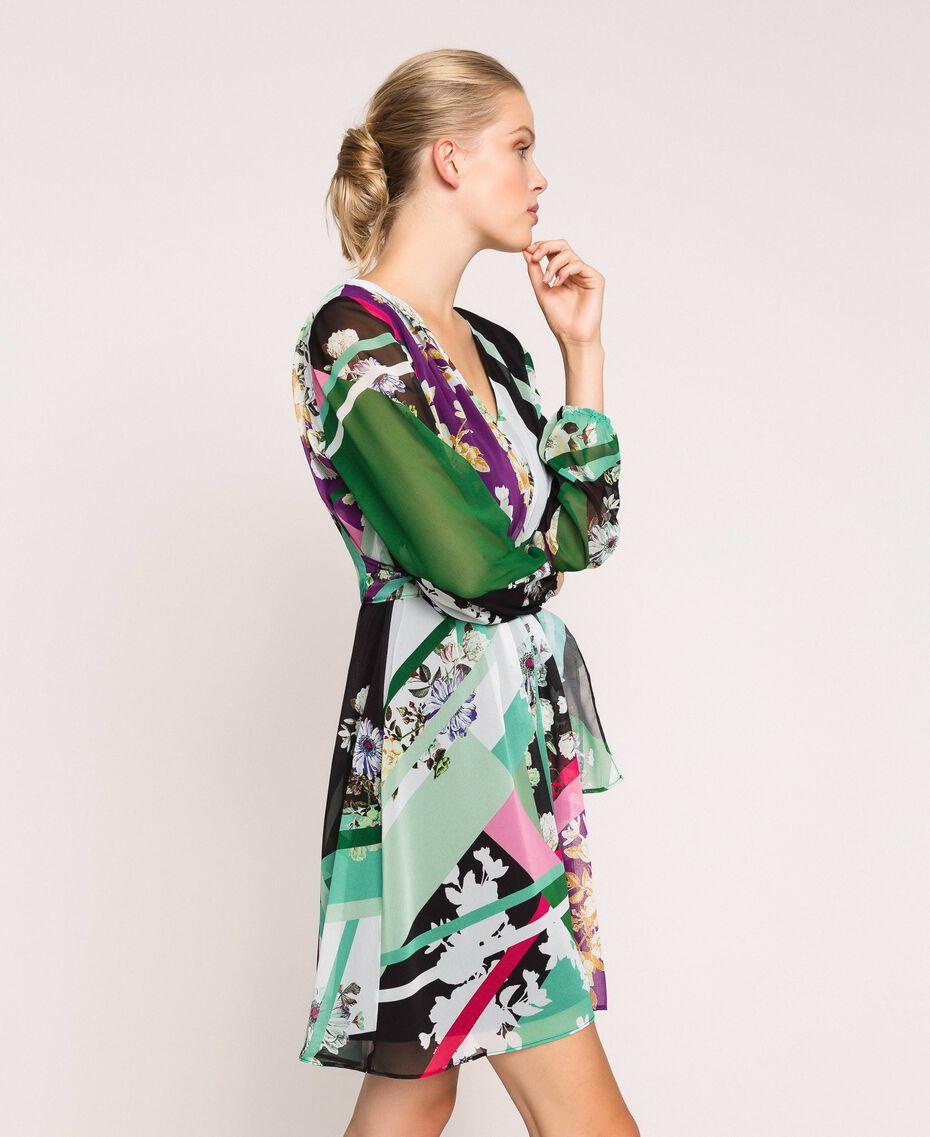 Vestido de georgette estampado Estampado Fular Negro Mujer 201MP2362-02