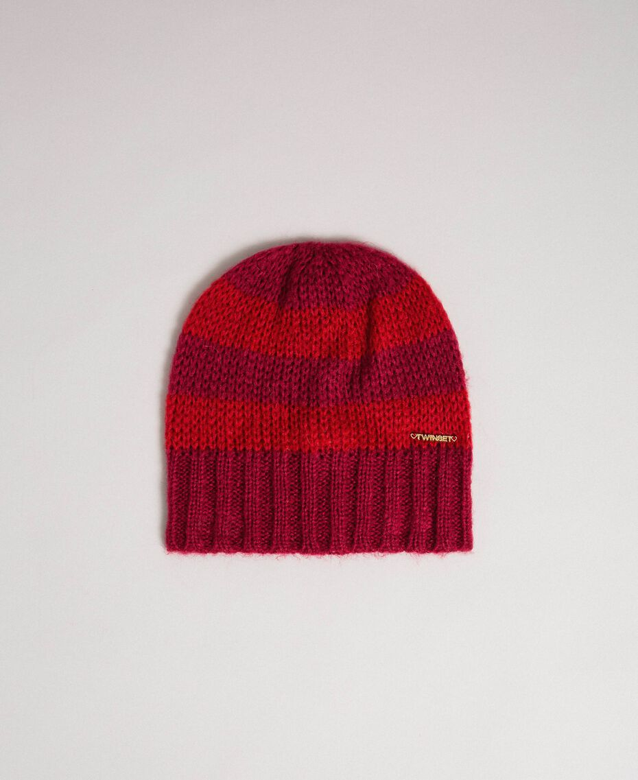 Striped mohair hat Ruby Wine Striped Jacquard / Red Child 192GJ4222-01
