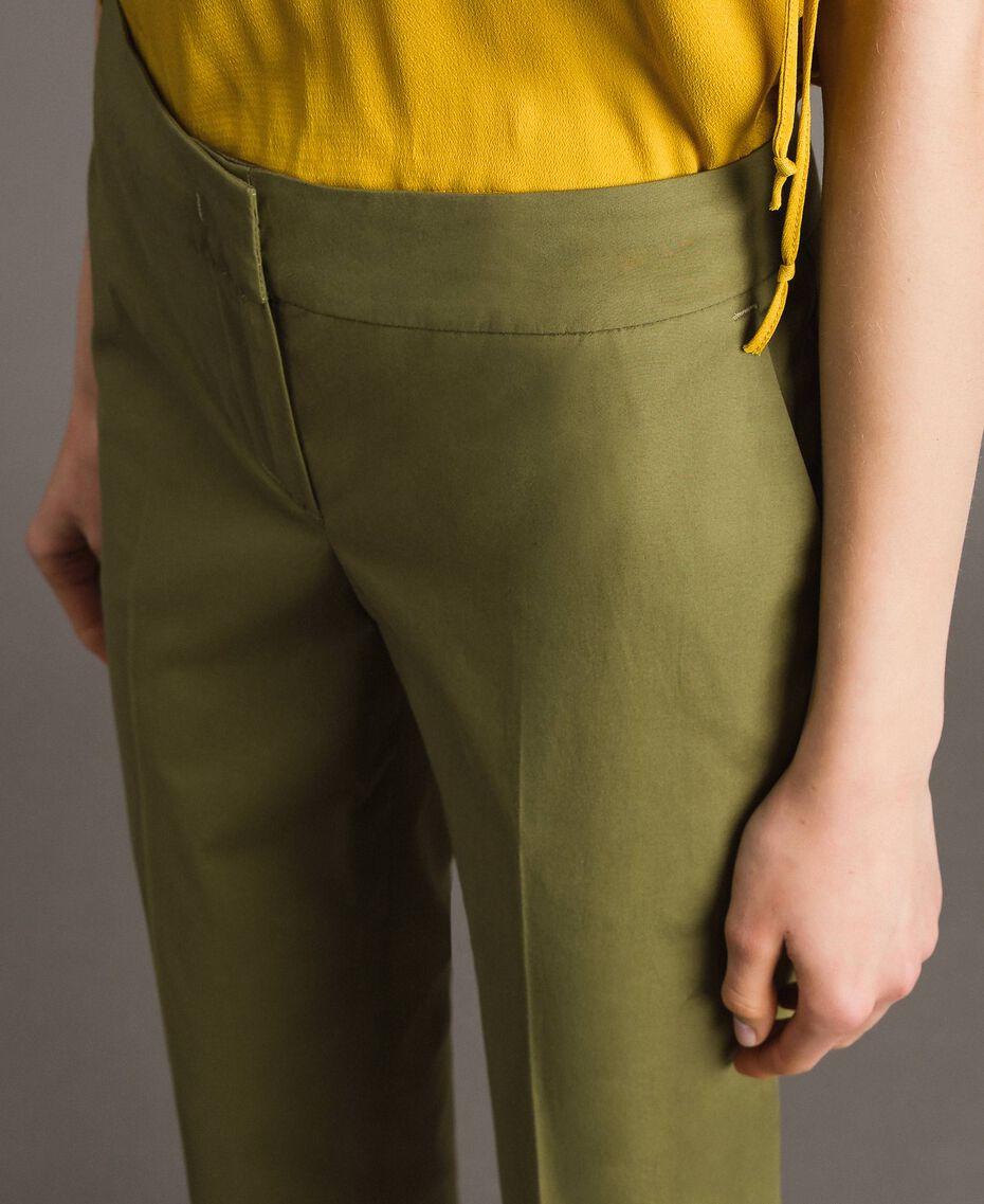 "Poplin drainpipe trousers ""Olive"" Green Woman 191TT2231-05"