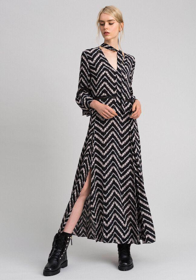 Длинное платье с шевронным цветочным принтом