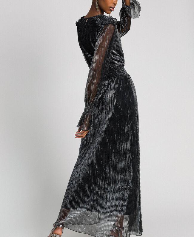 Long dress in metal creponne tulle Black / Silver Woman 192MT2141-04