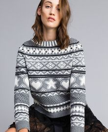 Three-colour jacquard jumper with studs Bicolour Grey Melange / Mother-of-pearl White Woman JA83EB-04