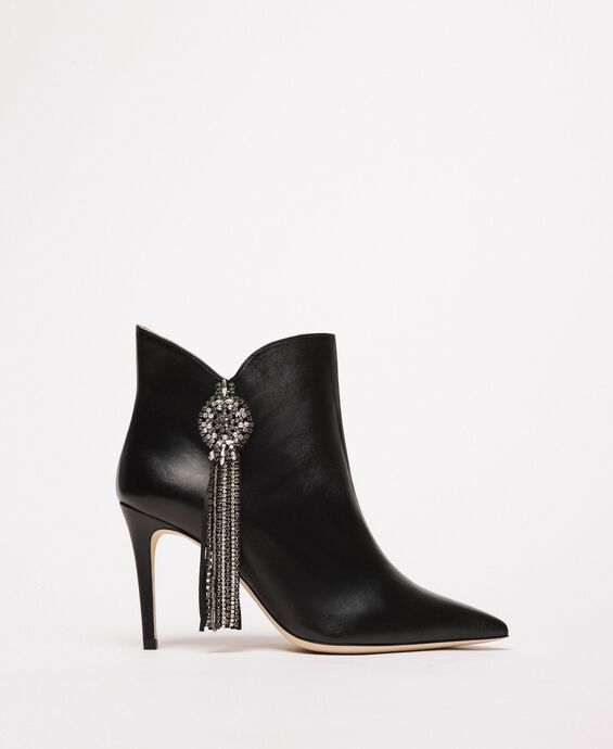 Nappa leather ankle boots with jewels and fringes