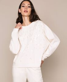 """Sweatshirt with full sequin embroidery """"Silk"""" White Woman 201ST2051-01"""