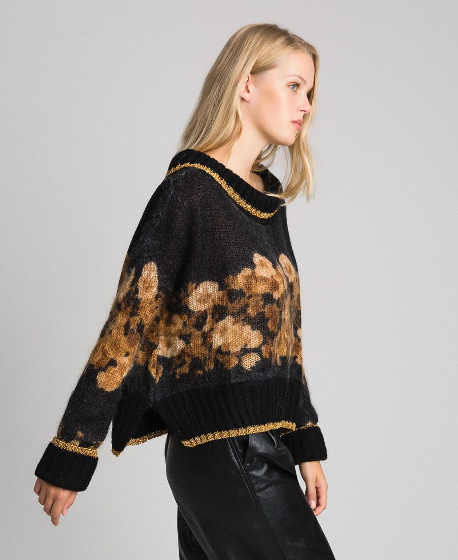 Printed mohair jumper Black Baroque Flower Stripes Mix Print Woman 192TT3332-01