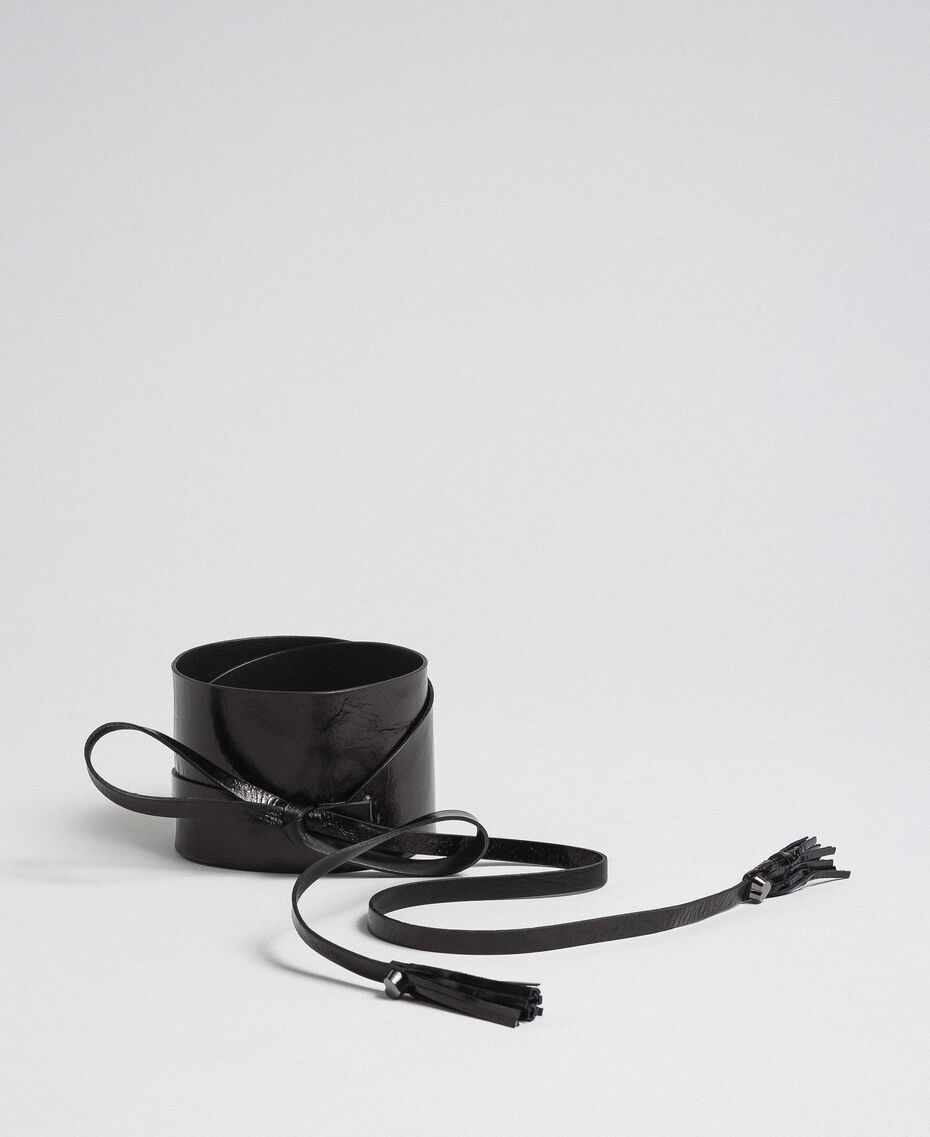 Wide leather belt with strings and tassels Black Woman 192TA4300-01