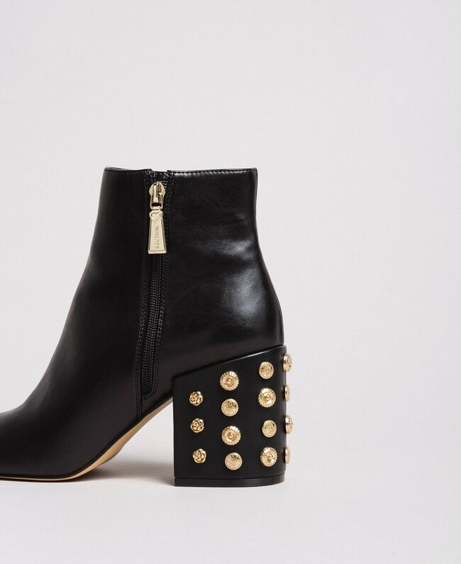 Faux leather ankle boots with jewelry heels Black Woman 191MCP046-01