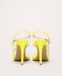 Fluorescent faux leather high heel sandals Fluorescent Yellow Woman 201MCT020-04