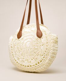 Raffia beach bag with pompoms Ivory Woman 201LM7LMM-03