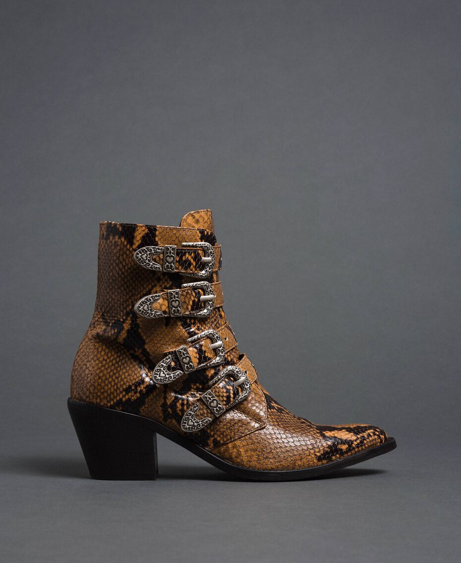 Leather Texas boots with animal print Brandy Python Print Woman 192TCT06E-02