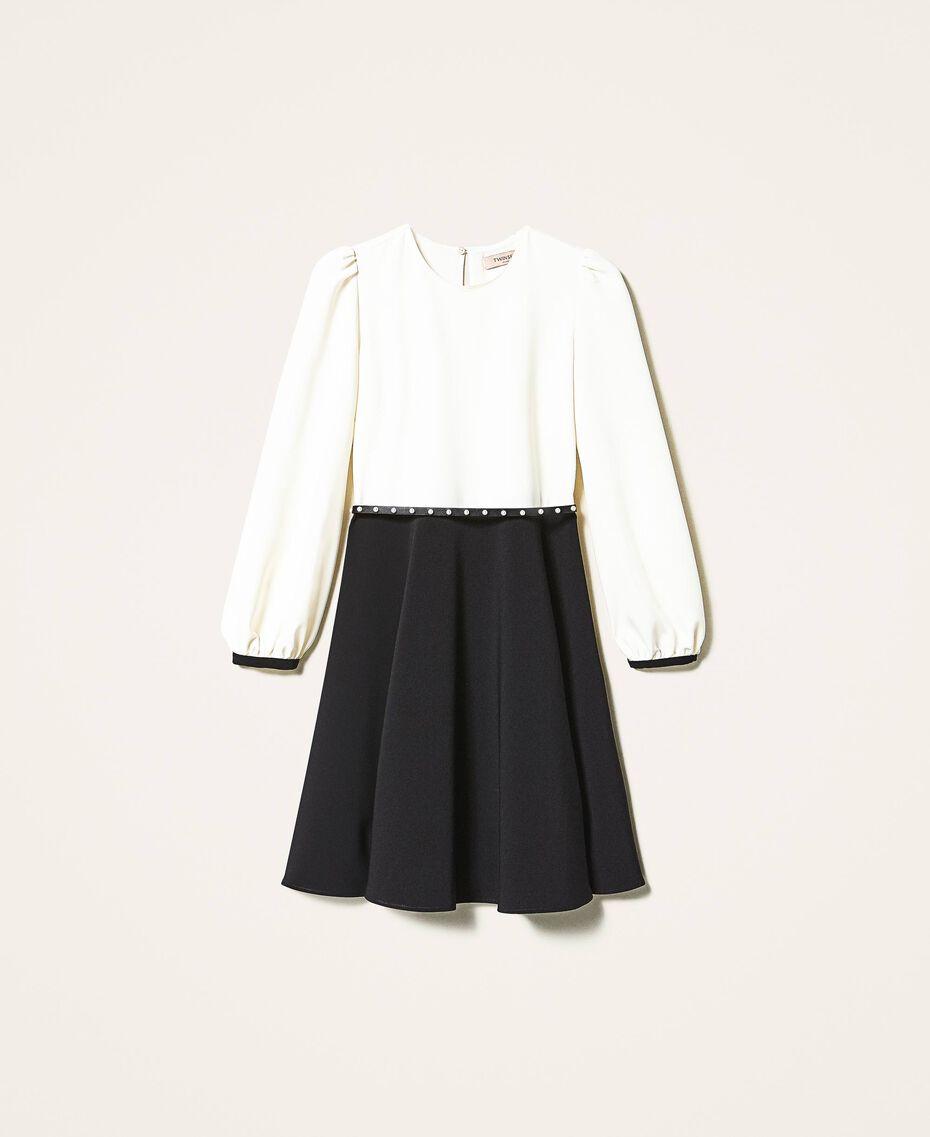 Two-tone crêpe dress with belt Two-tone Parchment White / Black Woman 202TT2337-0S