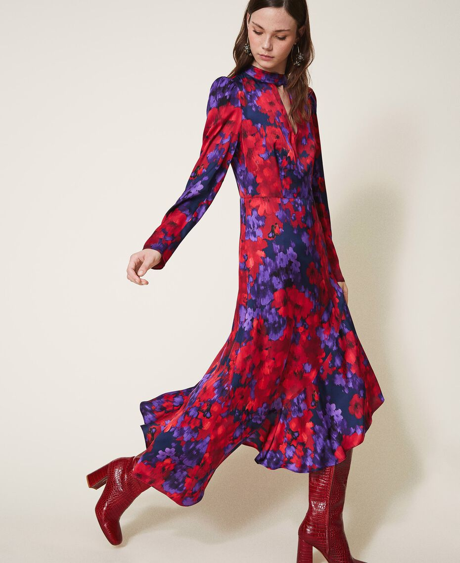 "Floral print satin dress ""Vibrant"" Purple / Venetian Red Floral Print Woman 202TT2350-02"