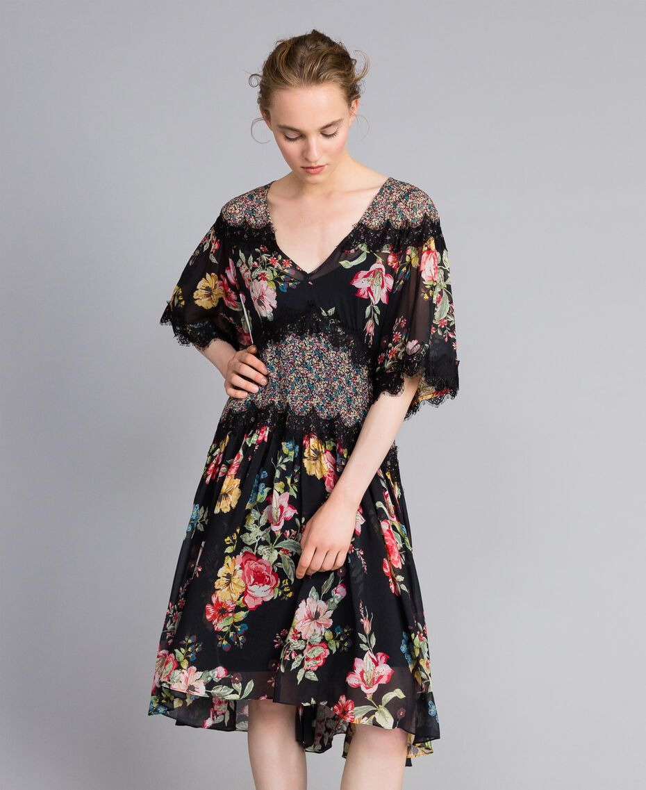 Abito corto in georgette a stampa floreale Stampa Flower Patch Donna PA82MD-01