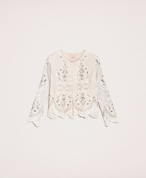 Lace jacket with embroidery