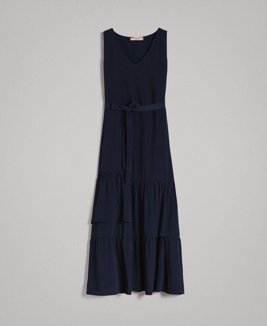 Silk-mix long dress Deep Blue Woman 191TP2461-0S
