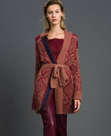 """Jacquard mohair and wool maxi cardigan """"Sequoia"""" Beige Jacquard / Red Earth Woman 192ST3130-01"""