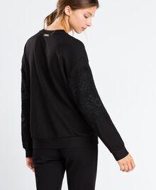 Viscose sweatshirt with lace Black Woman IA8CCC-03
