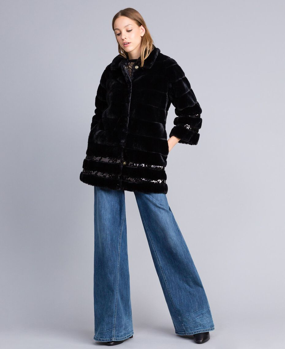 Manteau en fausse fourrure et paillettes Noir Femme PA82KB-02
