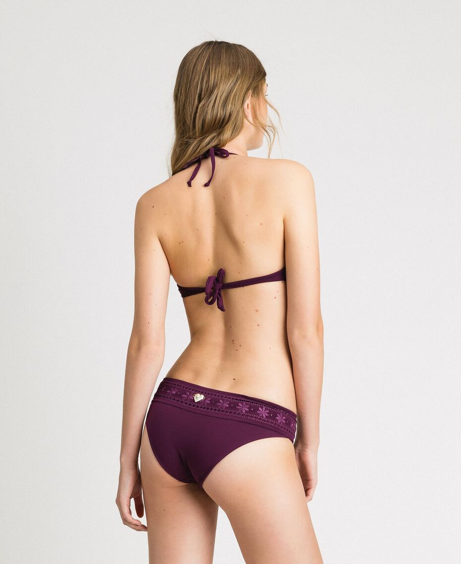 "Push-up-Bikinitop mit Lochstickerei ""Mulberry Red"" Burgunderrot Frau 191LBME44-03"