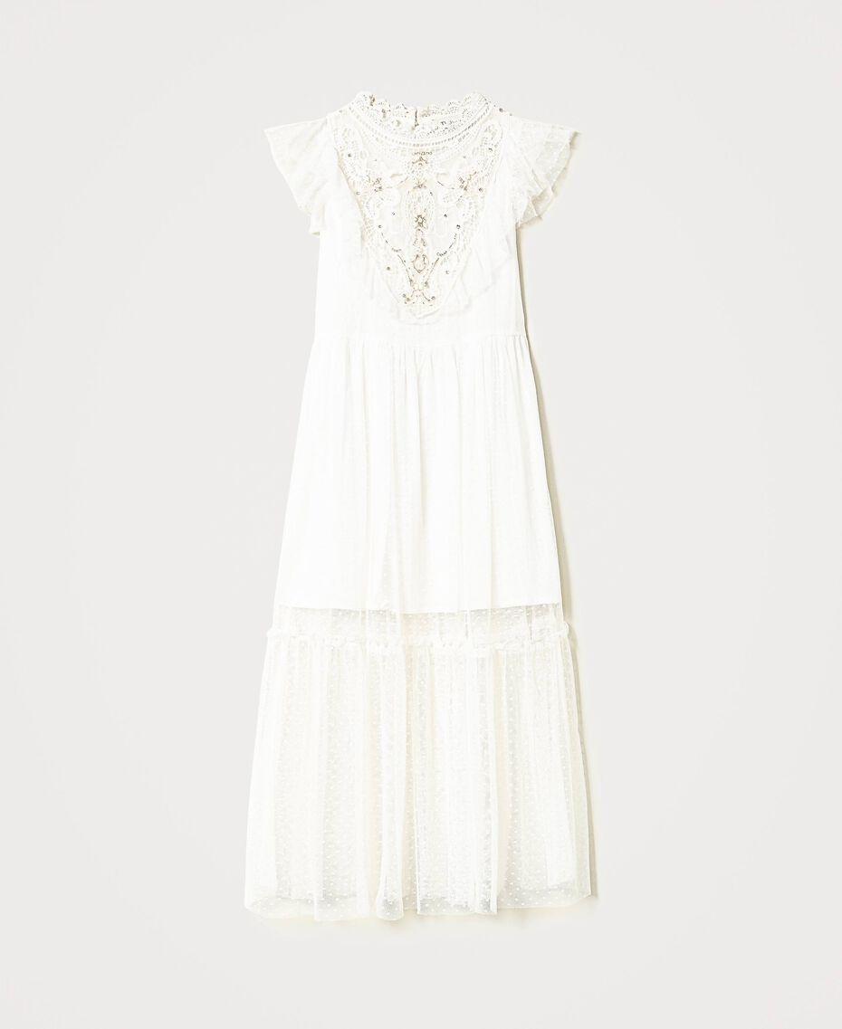 Kleid aus Tüll und Musselin mit Stickerei Mattweiß Kind 211GJ2Q3B-0S