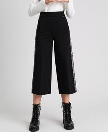 "Wide leg trousers with Lace Bicolour Black / ""Snow"" White Woman 192TP2097-02"
