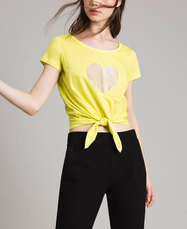 Corte Milano Con De Corazón Cropped Mujer Twinset Camiseta Amarillo 6w5z8qc8W