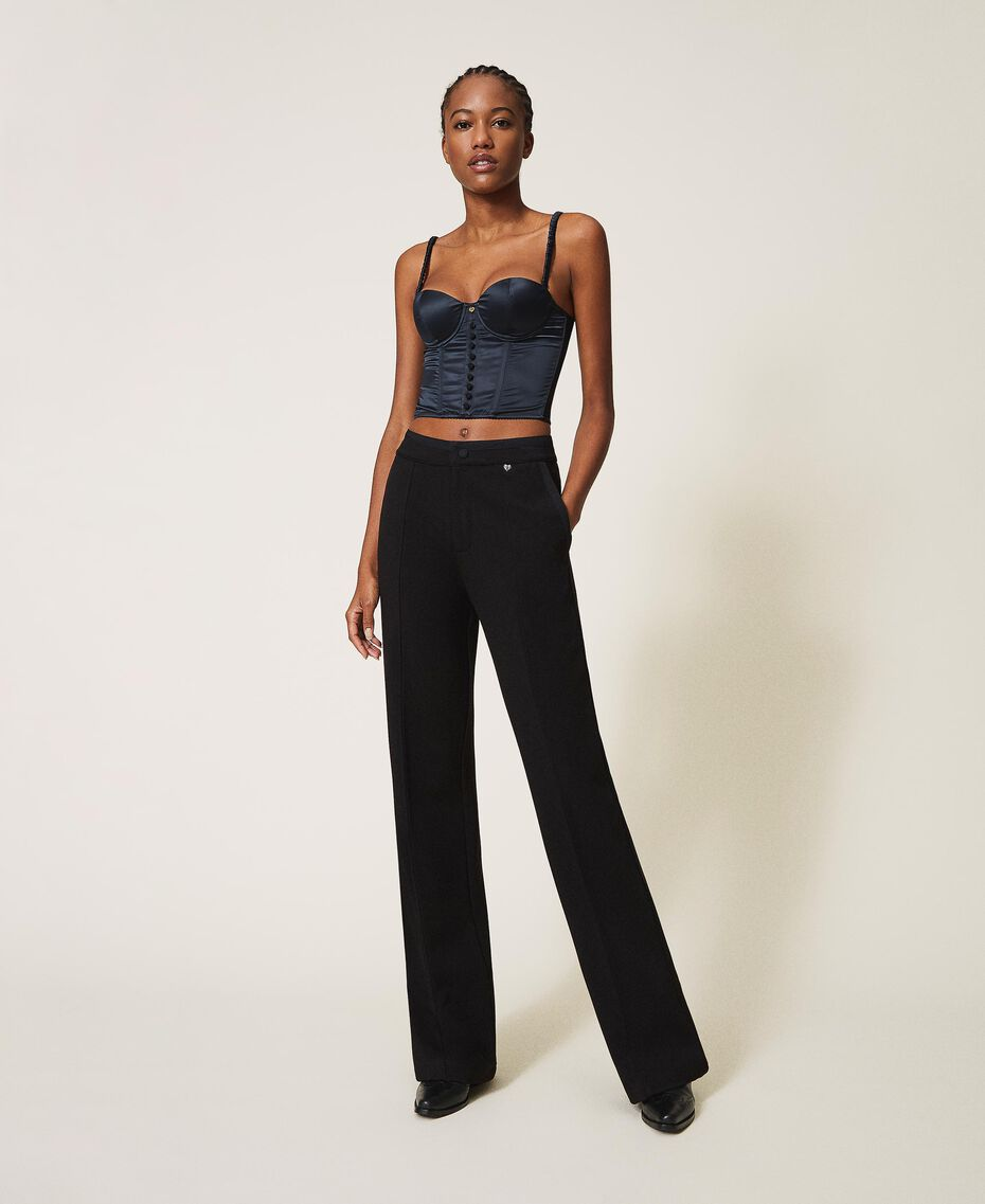 Trousers with crêpe de Chine finishes Black Woman 202MP2292-02