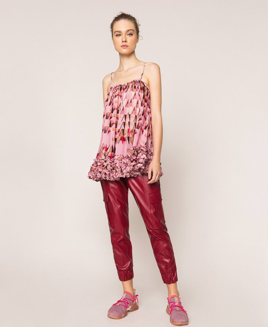 "Printed georgette top with micro frills ""Candy"" Pink Geometric Print Woman 201ST2184-02"