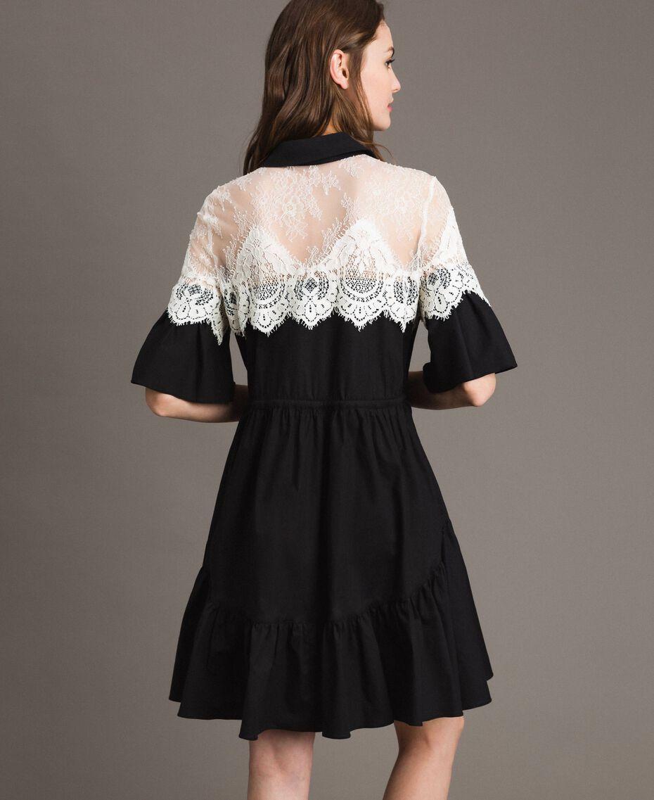 Poplin shirt dress with lace inlays Black Woman 191TT2121-03