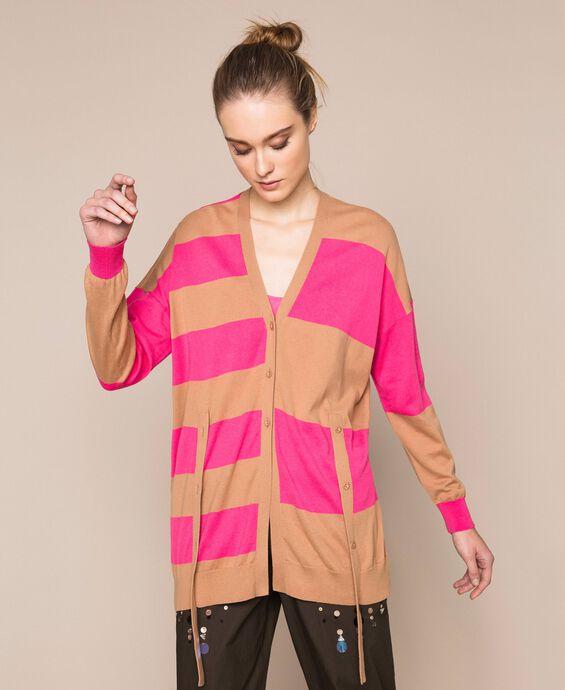 Asymmetric stripe cardigan