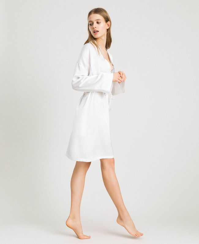 Satin dressing gown Ivory Woman 191LL2DEE-03