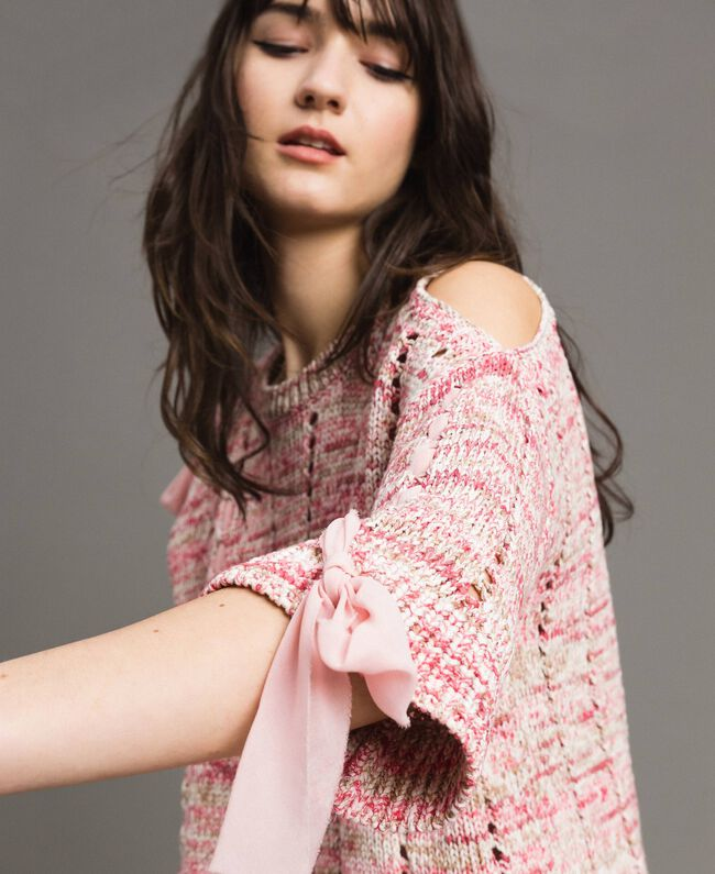 Openwork top with ribbons Multicolour Pink Pattern Woman 191TP3281-04