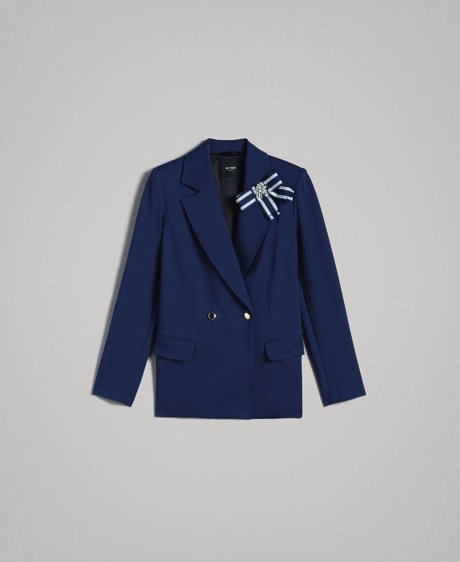 Double-breasted blazer jacket with cockade Indigo Woman 191MP2150-0S